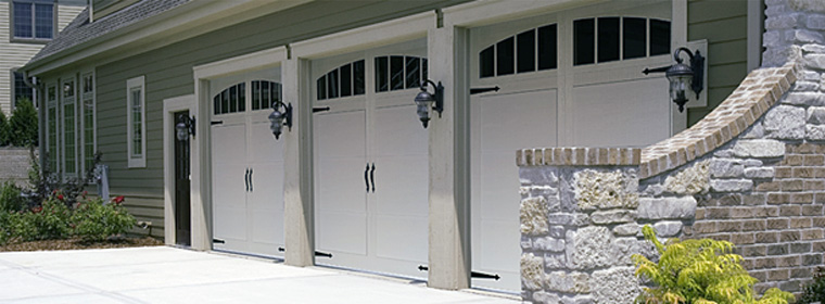 American Made Garage Door - Model # 5950 - White with Arched Madison Windows, Long-panel