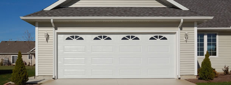 American Made Garage Door - Model # 4285 - White with Sherwood Windows, Long-panel