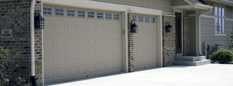 American Made Garage Door - Model # 2285 - Sandstone with Stockton Windows, Short-panel